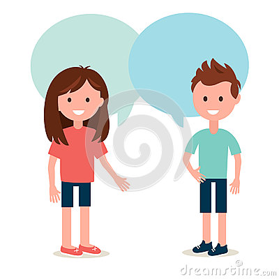 Boy and Girl Talking to Each Other. Conversation and Sharing Ideas Vector Illustration Vector Illustration