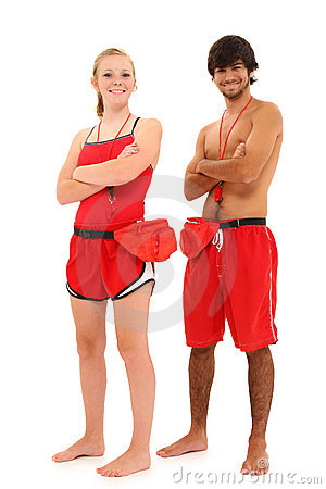Free Boy Girl Teenager Lifeguards In Uniform Royalty Free Stock Images - 20445459