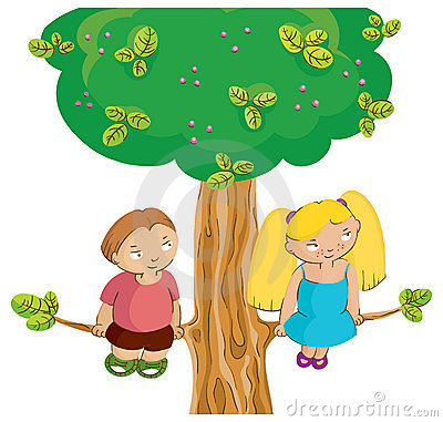 Boy and girl on the tree