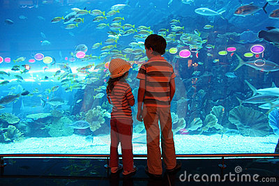Boy and girl in underwater aquarium tunnel
