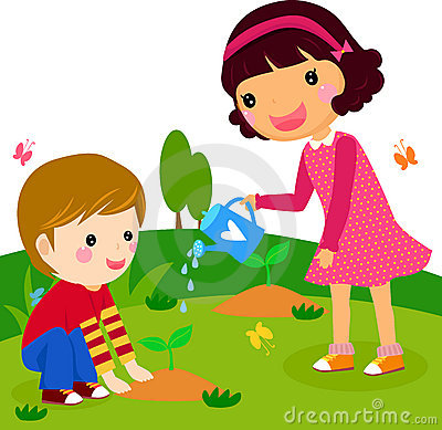 Boy and girl water a plant