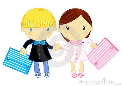 Boy and girl wearing primary school pinafore