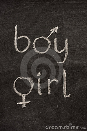 Boy and girl  words with gender symbols