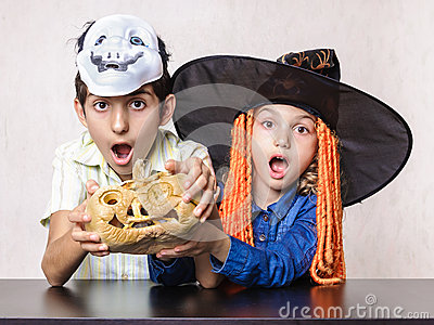 Children amazed Halloween