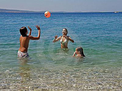 Boy and girls in summer fun