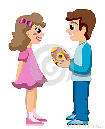 Boy Gives Decorated Egg to Girl