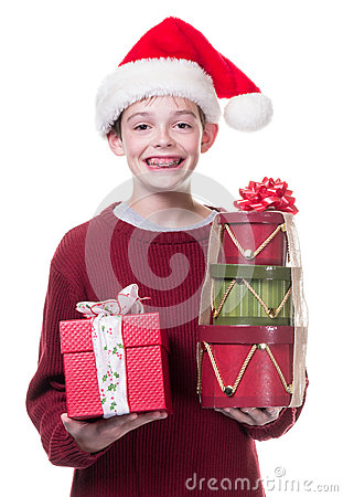 Boy giving Christmas gifts