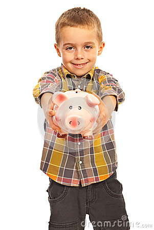 Boy giving piggy bank