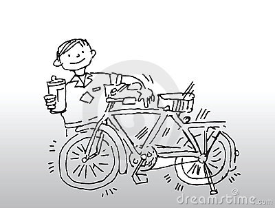 Boy with gleaming bicycle