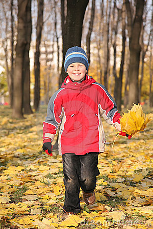 Boy goes for a walk in park in autumn