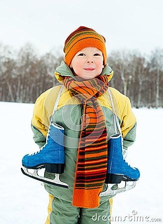 Boy going ice skating