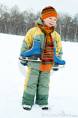 Boy going ice skating