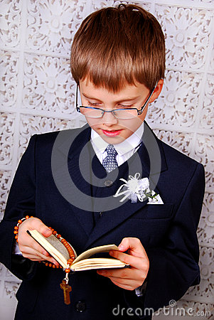 Boy going to the first holy communion