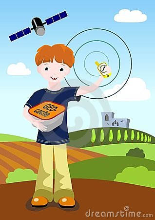 Boy with GPS and geocache