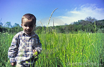 Boy in grass field