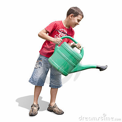 Boy and green watering-can