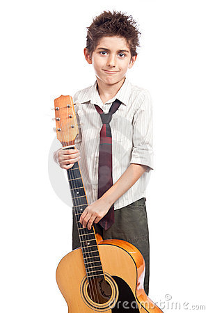 Boy artist acoustic guitar