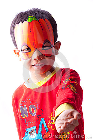 Boy with Halloween mask