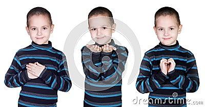 Boy hand gestures