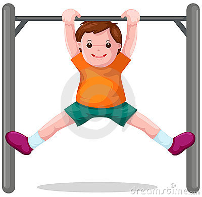 Boy hangs on  a horizontal bar
