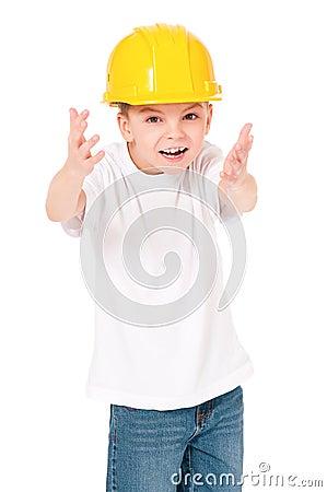 Boy in hard hat