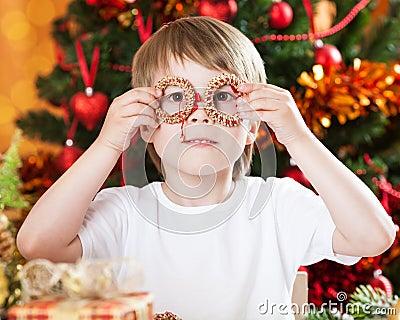 Boy having fun in Christmas