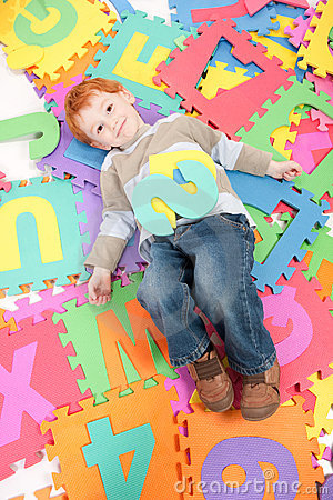 Free Boy Having Fun Learning Kids Alphabet Letters Royalty Free Stock Image - 19030056