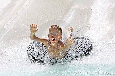 Boy having fun in water park