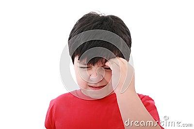A boy with a headache; isolated