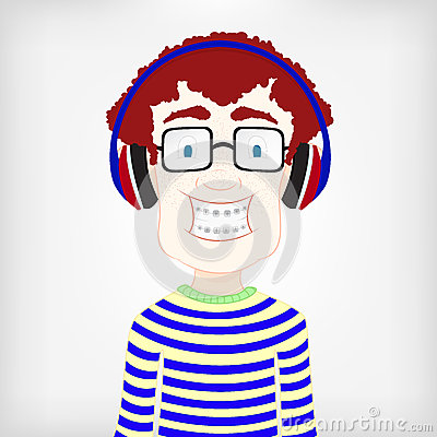 Boy Character Listening MP3 Player Royalty Free Stock Photo ...