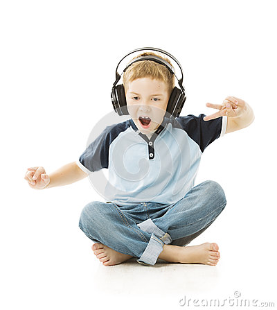 Free Boy Headphones Listening To Music And Singing Royalty Free Stock Image - 42919576