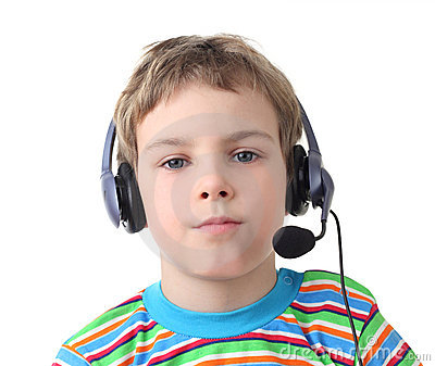Boy with headphones and microphone