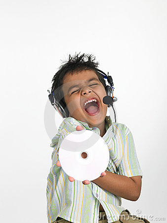 Boy with headphones shouting