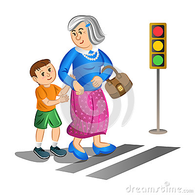 Free Boy Helping Old Lady Cross The Street. Vector Royalty Free Stock Image - 57533806