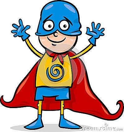 Boy in hero costume cartoon