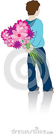 Boy hiding flowers