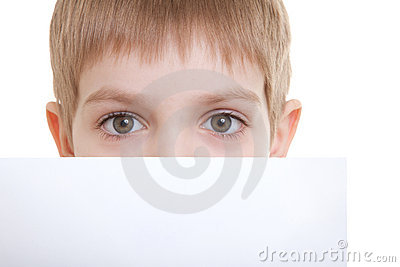 Boy hiding over sheet of paper