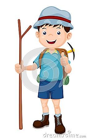 Free Boy Hiking Illustration Stock Photos - 26457323
