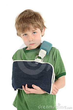 Boy with his arm in a sling