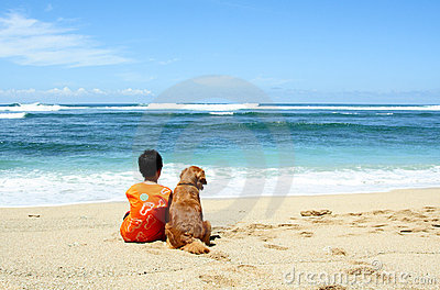 A boy with his dog