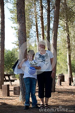 Boy with his grandmother.