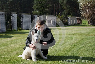 Boy with his lovely puppy