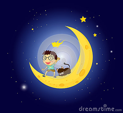A boy and his pet at the moon