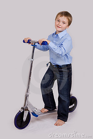 Boy on his scooter