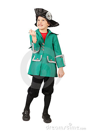 Boy in historical dress hand gesture on white
