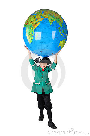 Boy in historical dress holding big globe