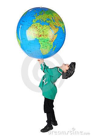 Boy in historical dress holding inflatable globe