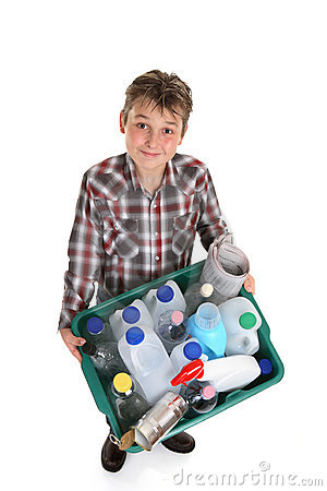 Boy hold recycling container