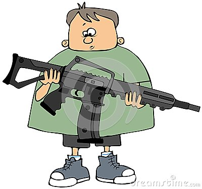 Boy holding an assault rifle