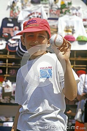Boy Holding Autographed Baseball, Fenway Park, Boston, Massachusetts Editorial Stock Photo
